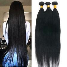 Brazilian 7A 100% Virgin Human Hair Extensions 3Bundles Weave 300G #1B Straight
