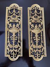 2 OLD  Brass Pierced Finger Plate's Push DOOR PLATE