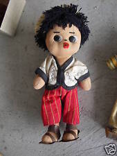 "Vintage Jointed Cloth Ethnic Boy Doll 8 1/2"" Look"