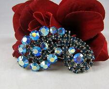 Vintage Blue Aroura Borealis HUGE Sparkling Brooch Pin CAT RESCUE