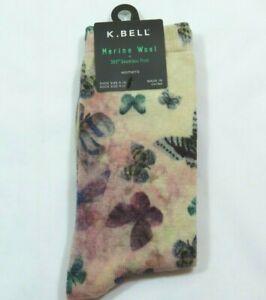 K Bell Womens Merino Wool Blend Butterflies Beige Purple Crew Socks Size 9-11