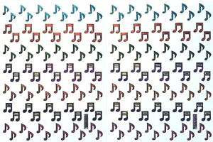MUSIC / MUSICAL NOTE STICKERS x 2 sheets,metallic, multi-coloured *top quality*
