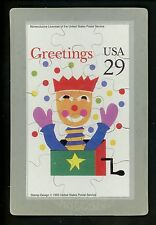 Novelty stamp PUZZLE postcard Scott #2791 Christmas Jack in th Box Holidays 1993