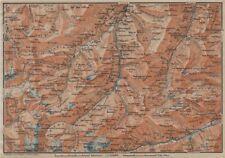 LUGNETZTAL SURSELVA. Valserrhein Furketlihorn Hinterrhein Splügen 1920 old map