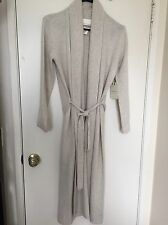 Cynthia Rowley 2-Ply Cashmere Belted Ribbed Collar Cardigan Robe beige Large