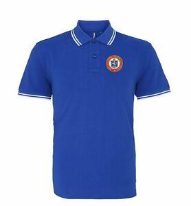 Glasgow Rangers Retro Football Tipped Polo Embroidered Crest S-XXXL