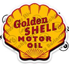Vintage Golden Shell Motor Oil Logo Vinyl Sticker Nostalgic water bottle toolbox
