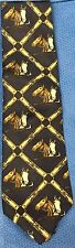 Equestrian Leathers Horse Head and Crop Men's Blue Necktie Wallachs