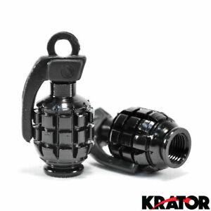 New Custom Motorcycle Chopper Bike Tire Black Grenade Style Tyre Valve End Caps