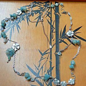 Pilgrim Danish Design Long Necklace Silver Green Colour Costume Jewellery