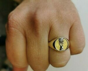 Solid Gold Football World Cup Signet Ring, Mens Jewellery, UK hallmarked Gold Mm