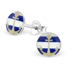 Childrens Girls Sterling Silver Round Blue & White Striped Anchor Stud Earrings