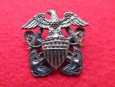 US NAVY overseas hat badge  * HILBORN & HAMBURGER * STERLING & 1/20 10K GOLD #2