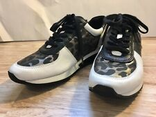 New Michael Kora White Leopard Leather Sneakers Women Size 8.5M