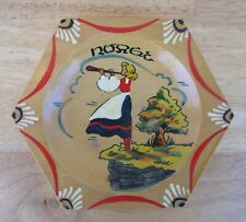 Vtg Hand-painted Norwegian Girl Rosemaling Folk Art, 6-Sided Wooden Bowl/Dish