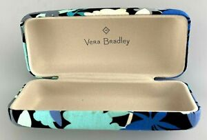 Vera Bradley Eyeglasses Sunglasses Case Only Blue Floral Hardcase Medium STAIN