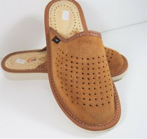 WOMEN NATURAL LEATHER SUEDE LIGHT BROWN HOUSE SLIPPERS MULES SLIP ON RUBBER SOLE