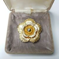 Rare Vintage Flower Gold Tone Scarf Clip Nature Plant Gift Costume Jewellery