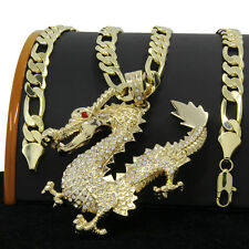 "Mens Gold Plated XL Hip Hop China Dragon Pendant 30"" Figaro Chain Necklace D901"