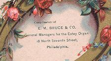 PHILADELPHIA TRADE CARD, E M BRUCE & CO, ESTEY ORGAN, at 18 No. 7th St. TC3057
