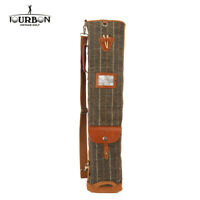 TOURBON Vintage Single Strap Golf Clubs Carry Bag Melton&Leather Sunday Golf Bag
