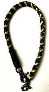 Biker chain braided Black Gold leather Heavy Duty Trucker Chain wallet USA made