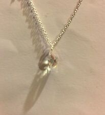 SMALL GLASS CLEAR AB FACETED BRIOLETTE DROP PENDANT SILVER PLATED CHAIN