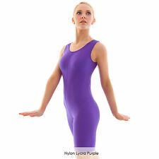 Ladies Sleeveless Plain Dance Cycle Unitard Catsuit Shiny Nylon Lycra Adults