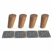 4x Oak Wood Oblique Tapered Furniture Leg for Sofa Cabinet 10cm Height