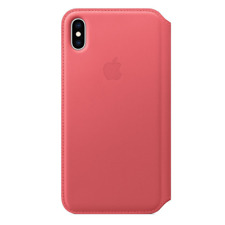 100% Authentic Apple Leather Folio Cover for Apple iPhone XS Max - Peony Pink