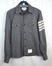 THOM BROWNE Men's Gray Wool Arm 4 Four Bar Shirt Size 1--Small S Made in USA Z67