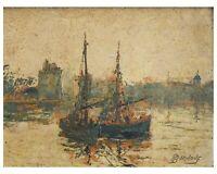 Peinture Ancienne Huile signé - Paysage, Mer, Bateaux, Port, La Rochelle