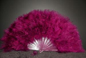 "MARABOU FEATHER FAN - PLUM Feathers 12"" x 20"" Burlesque/Wedding/Costume"