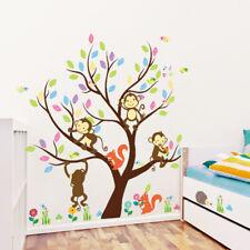 FM_ CARTOON SQUIRREL MONKEY TREE WALL STICKER KIDS ROOM DECORATION DECAL STUNNIN