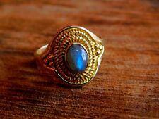 "Natural Labradorite Ethnic Bohemian Brass Ring, Tribal Ring Boho Jewelry US""8"