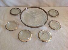 Vintage Sheridan Coasters/Ashtrays (6) & Leonard Divided Dish Crystal & Silver