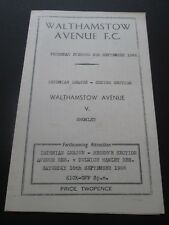 Football Programme - Walthamstow Avenue v Bromley 8/9/1966