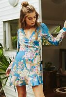 5db4be22cfec Spell & The Gypsy Free People Blue Skies Floral Wrap Mini Boho Dress NWT