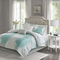 Madison Park Essentials Maible Comforter Reversible Solid Flower Floral Printed