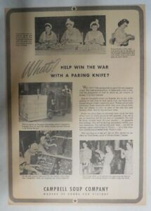 Campbell's Soup Ad: Winning The War With a Paring Knife ! 1940's 10 x 14 inches