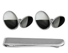 Sterling Silver Mother Of Pearl & Onyx Double-Sided Cufflinks Tie Clip Box Set