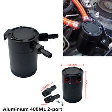 Black Car Baffled 400ml Aluminium 2-port Oil Catch Tank Can Air-oil Separator