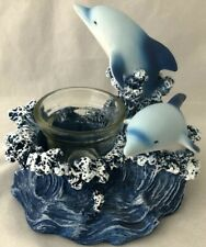Jumping Playing in Waves Dolphins Statue Figurine Composite Votive Candle Holder
