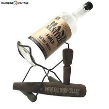 Vintage Single Wine Rack Bottle Holder Kitchen Countertop Iron Stand Home Decor