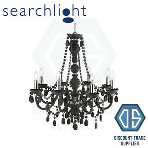 8888-8GY SEARCHLIGHT MARIE THERESE FROSTED 8 LIGHT CHANDELIER WITH CRYSTAL DROPS