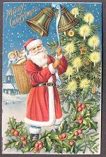 Santa in Red Rings Christmas Bells Candle Lit Tree w/ Cookies Basket Toys 1907
