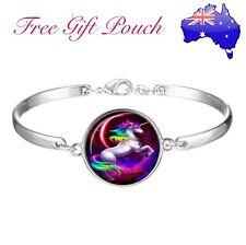 Magical Unicorn Rainbow Glass Cabochon Silver Bracelet Bangle Women Girl Gift