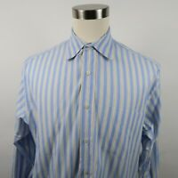 J Crew Mens 100s 2 Ply Cotton LS Button Down Blue Yellow Striped Shirt L 16-16.5