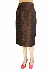 VALENTINO New Ladies Formal Silk Tailored Brown Knee Pencil Skirt sz 12 M AP79