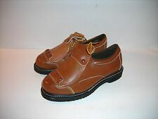 NEW women's brown LEATHER HYTEST SAFETY SHOES STEEL TOES, ANCHOR FLANGE 6-6.5 B